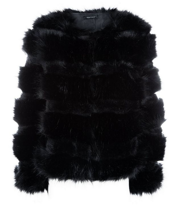 New Look black pelted faux fur jacket, £59.99
