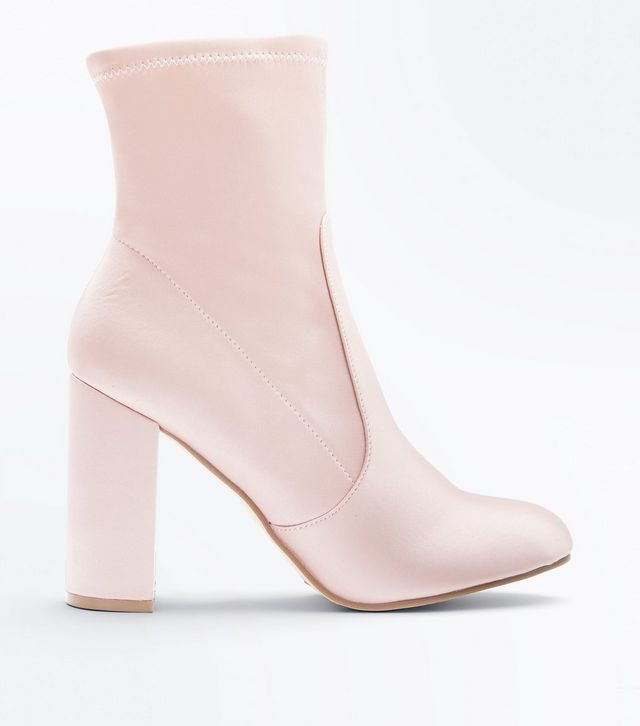 New Look Pink Satin Block Heeled Sock Boots, £29.99
