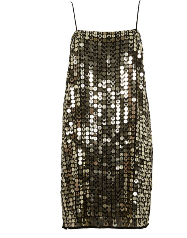 River Island gold metallic disk sequin slip dress, £65