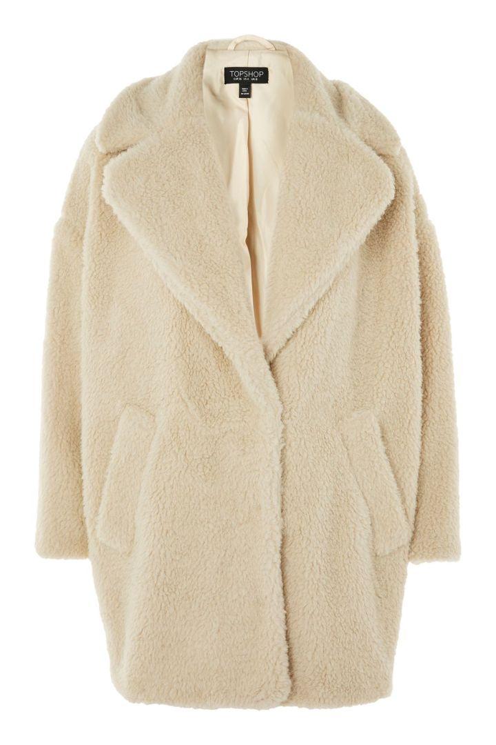 Topshop borg cocoon coat, £79