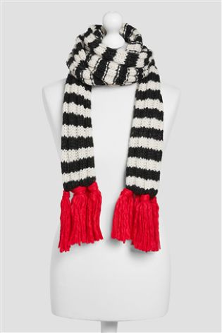Monochrome stripe knitted scarf.jpg