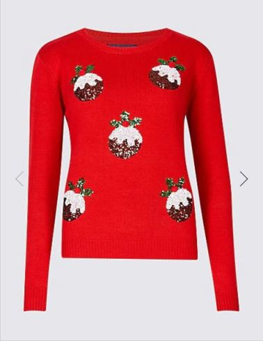 Womens M&S christmas pudding embellished jumper, £25.JPG